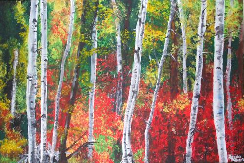 Daniela Böker, Herbstwald, Landscapes: Autumn, Nature: Wood, Expressionism
