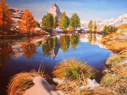 Daniela Böker, Das Matterhorn im Herbst, Landscapes: Mountains, Landscapes: Sea/Ocean