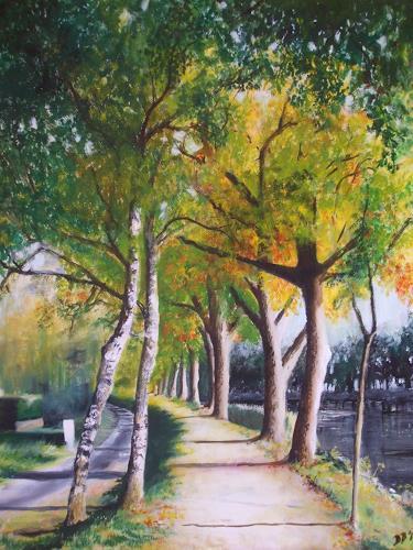 Daniela Böker, am Dortmund-Ems-Kanal, Landscapes: Autumn, Plants: Trees, Naturalism