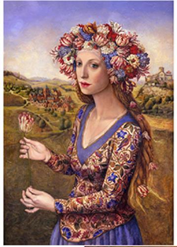 Victoria Francisco, Girl with tulip, Fantasy, Symbol, Symbolism