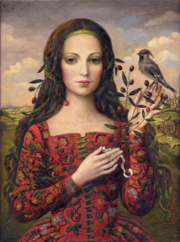 Victoria Francisco, A girl with bird, Fantasy, Symbol, Symbolism, Expressionism