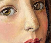 V. Francisco, A girl with bird.Detail.