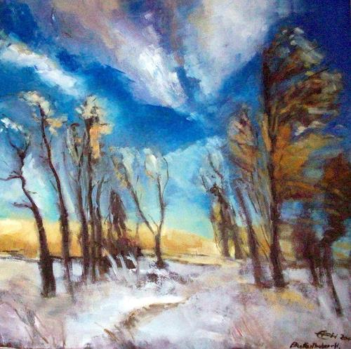 Ellen Fasthuber-Huemer, Winterstimmung, Landscapes: Winter, Post-Impressionism, Expressionism