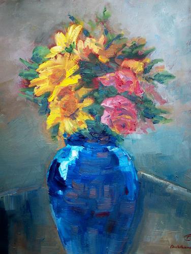 Ellen Fasthuber-Huemer, Kind of Blue, Plants: Flowers, Post-Impressionism