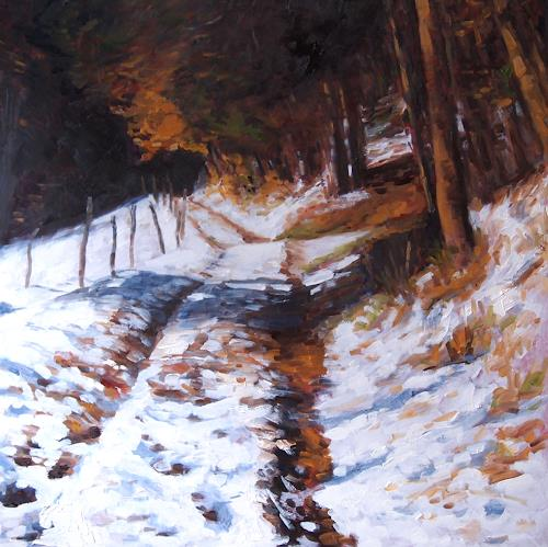 Ellen Fasthuber-Huemer, Herbstschnee, Landscapes: Autumn, Nature: Wood, Post-Impressionism, Expressionism
