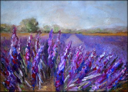 Ellen Fasthuber-Huemer, Lavendelfeld, Landscapes: Summer, Post-Impressionism