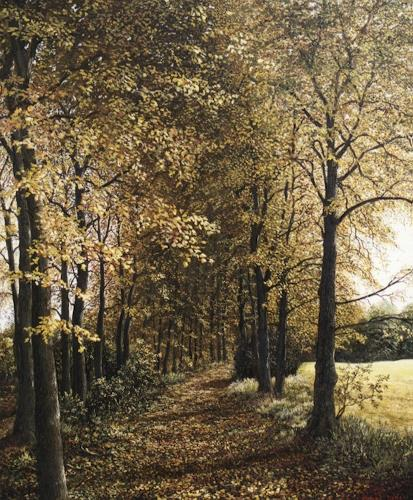 Peter Kempf, Waldweg im Herbst, Miscellaneous Landscapes, Naturalism, Expressionism