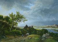 P. Kempf, Flusslandschaft mit Burg