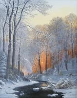 P. Kempf, Winter am Wildbach im Dämmerlicht