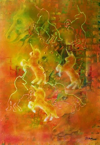Bernhard Ost, Verlorene Einhörner, Fantasy, Contemporary Art