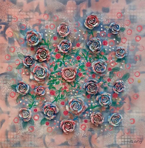 Bernhard Ost, blaue Kletterrosen, Plants, Fantasy, Contemporary Art