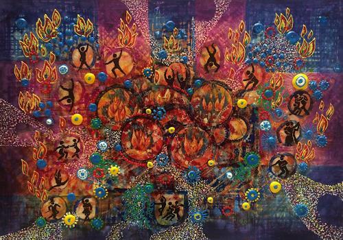 Bernhard Ost, Feuertanz, Abstract art, Fantasy, Contemporary Art, Expressionism