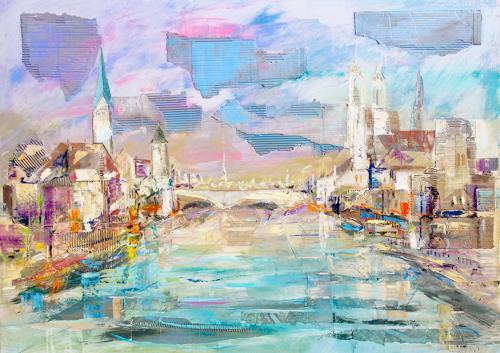 Ernest Hiltenbrand, Zürich, Landscapes, Traffic, Modern Times, Expressionism