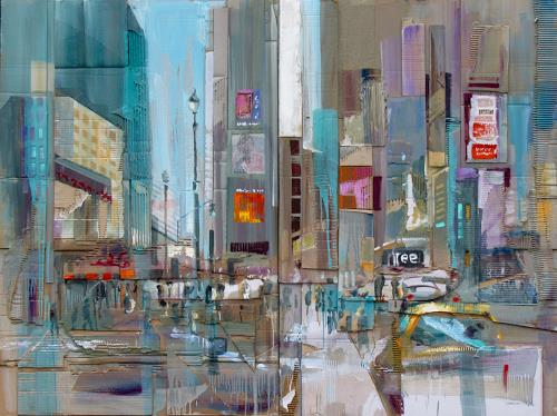 Ernest Hiltenbrand, Big Apple, Traffic: Car, Buildings: Skyscrapers, Modern Times, Abstract Expressionism