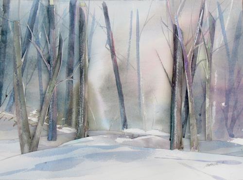 Ernest Hiltenbrand, Wald im Schnee, Landscapes: Winter, People, Realism, Expressionism