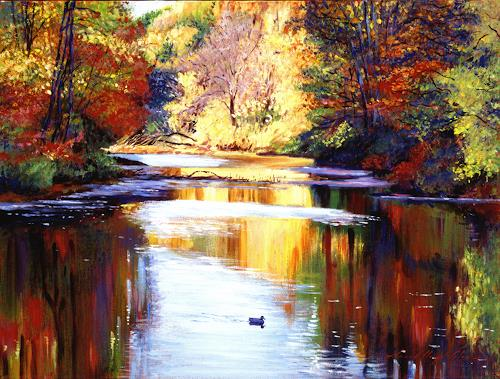 David Lloyd Glover, Reflections of Autunn, Landscapes: Autumn, Post-Impressionism, Expressionism