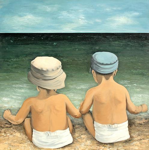 Anka Hubrich, Kinder schauen auf´s Meer, People: Children, Expressionism