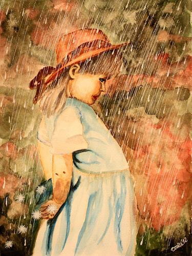 Anka Hubrich, Mädchen im Regen, People: Children