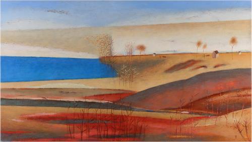 Kestutis Jauniskis, Red Fields, Times: Autumn, Colour Field Painting, Expressionism