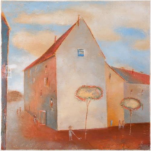 Kestutis Jauniskis, City Life, Buildings: Houses, Contemporary Art, Expressionism