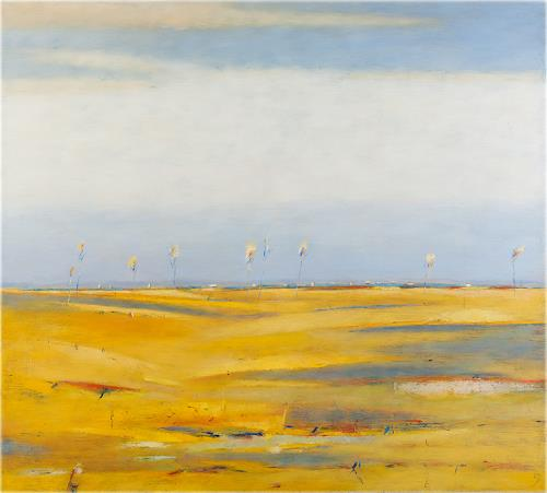 Kestutis Jauniskis, Landscape With Yellow Fields, Landscapes: Hills, Colour Field Painting, Expressionism