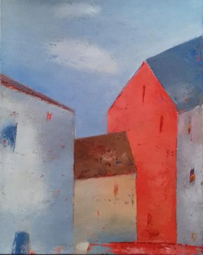Kestutis Jauniskis, Old City Motif, Buildings: Houses, Colour Field Painting, Expressionism