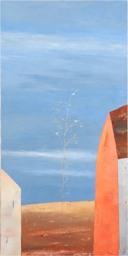 Kestutis Jauniskis, Tree With White Birds, Landscapes: Plains, Abstract Art
