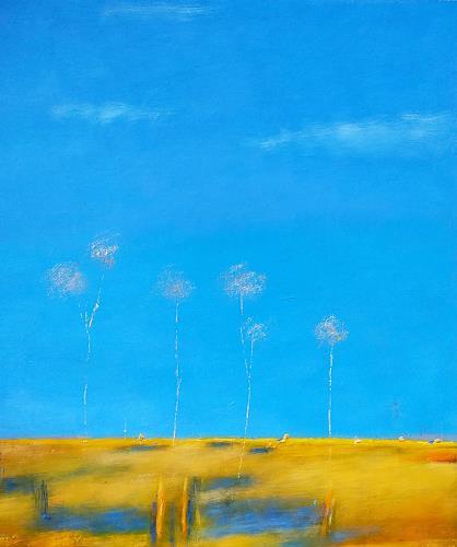Kestutis Jauniskis, Summer Motif 1, Landscapes: Plains, Action Painting, Expressionism