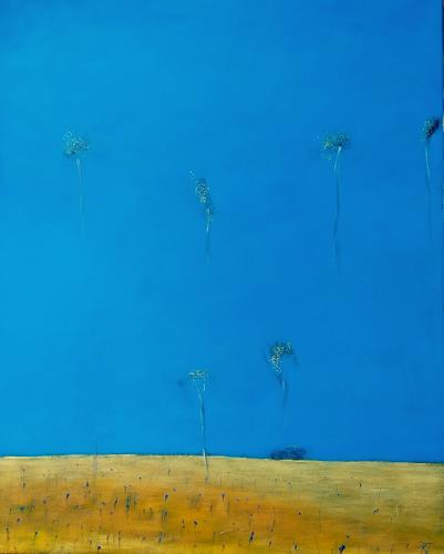 Kestutis Jauniskis, Cornflowers Field, Landscapes: Hills, Colour Field Painting