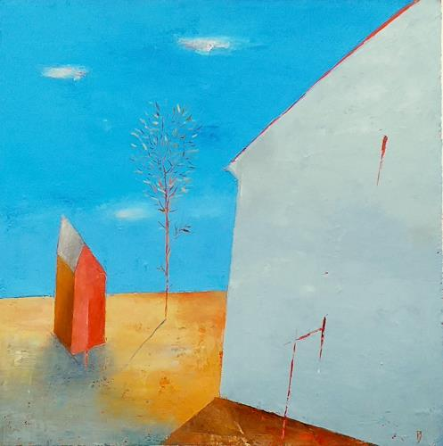 Kestutis Jauniskis, Urban Contrasts, Buildings: Houses, Action Painting, Expressionism