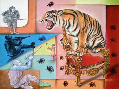 edie.s.yanto studio, tiger, People, Fantasy, Contemporary Art