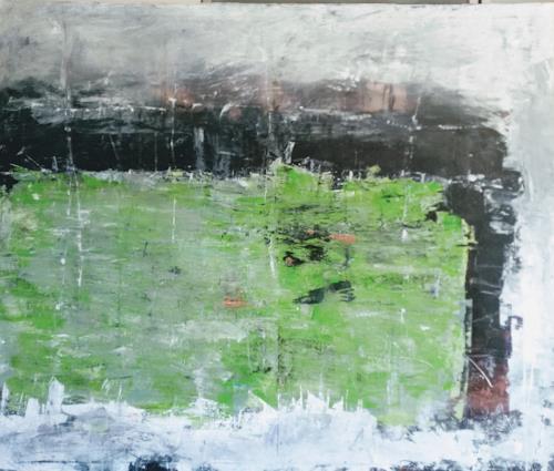 Josef Fekonja, Grün ins Schwarze getroffen, Abstract art, Landscapes: Sea/Ocean, Abstract Expressionism