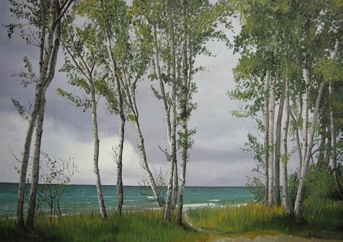 Svantje Miras, Birken auf Bornholm, Landscapes: Sea/Ocean, Landscapes: Summer, Realism