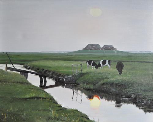 Svantje Miras, Hallig Hooge, Landscapes: Sea/Ocean, Landscapes: Plains, Realism, Expressionism