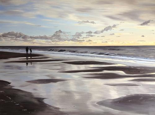 Svantje Miras, Sylt am Abend, Landscapes: Sea/Ocean, Landscapes: Beaches, Realism, Expressionism