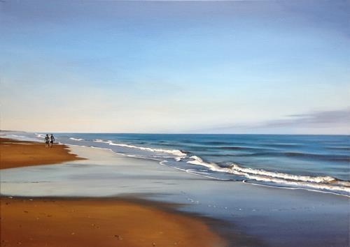 Svantje Miras, Morgen an der Costa de la luz, Landscapes: Sea/Ocean, Landscapes: Beaches, Realism, Expressionism