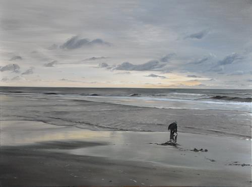 Svantje Miras, Sylt, Westtrand am Abend, Landscapes: Sea/Ocean, Landscapes: Beaches, Expressionism