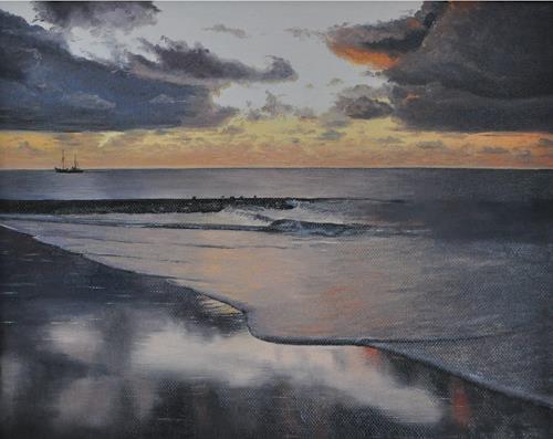 Svantje Miras, Wangerooge, Landscapes: Sea/Ocean, Landscapes: Beaches, Realism, Expressionism