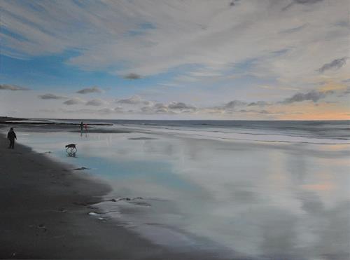 Svantje Miras, Sylt, im April mit Hund, Landscapes: Beaches, Landscapes: Spring, Expressionism