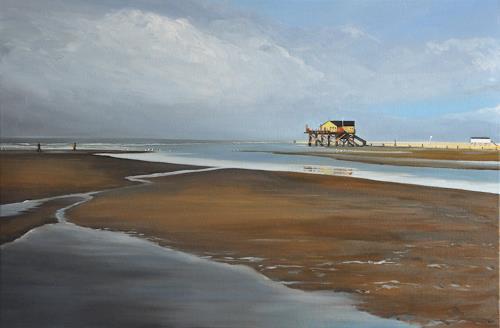 Svantje Miras, St. Peter Ording, Landscapes: Sea/Ocean, Landscapes: Beaches, Realism, Expressionism