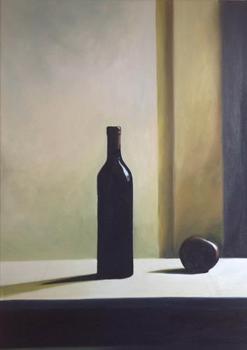 Svantje Miras, Richters Flasche mit Apfel I, Still life, Situations