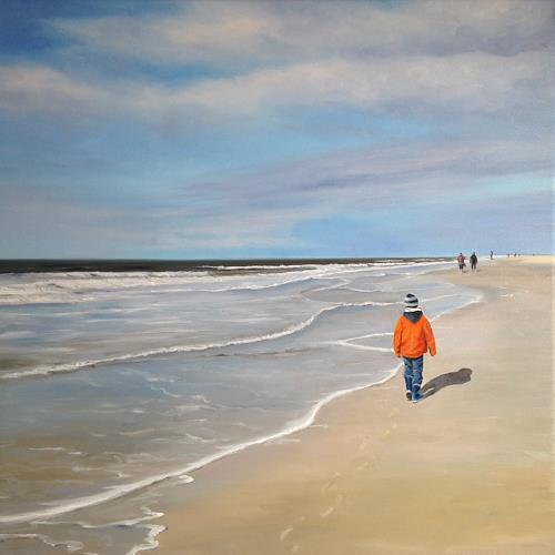 Svantje Miras, Strandspaziergang, Landscapes: Sea/Ocean, Landscapes: Beaches, Expressionism