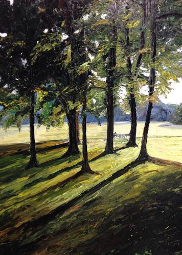 Svantje Miras, Bürgerpark in Bremen, Nature: Wood, Landscapes: Spring, Expressionism