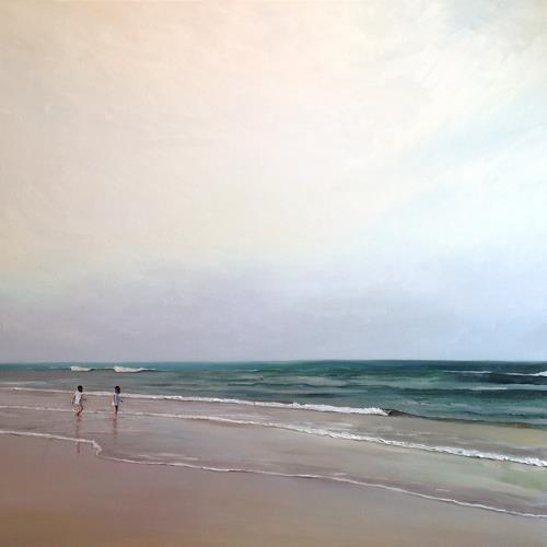 Svantje Miras, Schwestern morgens am Strand, Landscapes: Summer, Landscapes: Beaches, Expressionism