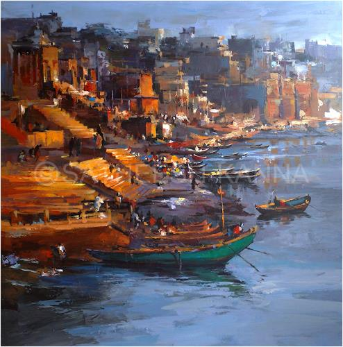 satheesh kanna, Varanasi, Miscellaneous Landscapes, Nature: Miscellaneous, Expressionism, Abstract Expressionism