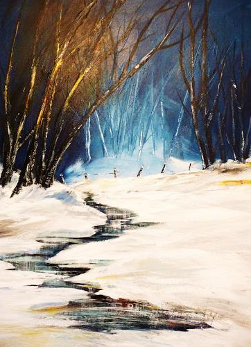 Petra Wendelken, Winterwald, Landscapes: Winter, Land-Art, Expressionism