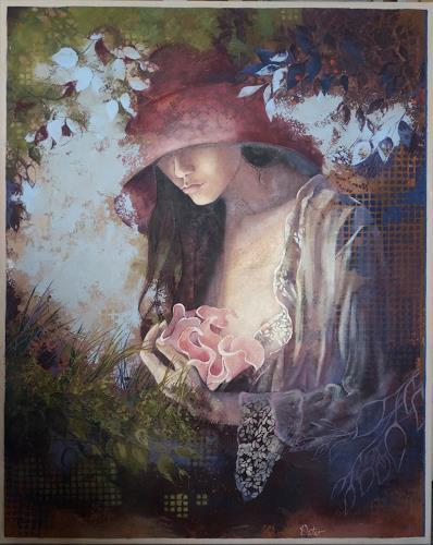 Christine Oster, Verweilen im Zaubergarten, People: Women, Miscellaneous Romantic motifs, Contemporary Art