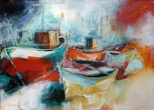 Michaela Steinacher, Boote, Verkehr: Ship, Nature: Water, Contemporary Art, Expressionism