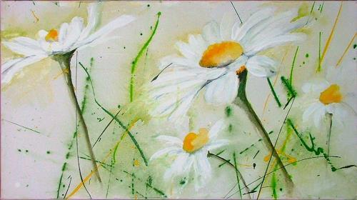 Michaela Steinacher, Margariten I, Landscapes: Autumn, Plants: Flowers, Modern Age, Expressionism