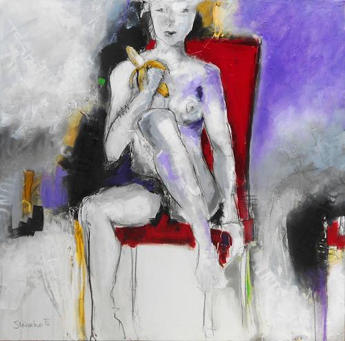 Michaela Steinacher, Heisshunger II, Erotic motifs: Female nudes, Meal, Modern Age, Expressionism